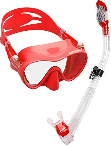 シュノーケリング マリンスポーツ CRS-FMSS-RD-PP Cressi Scuba Diving Snorkeling Freediving Mask Snorkel Set, Red Clearシュノーケリング マリンスポーツ CRS-FMSS-RD-PP
