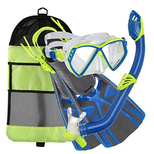 シュノーケリング マリンスポーツ 281105 U.S. Divers Regal Jr Pro Mask, Laguna Snorkel Lava Fins Set, Yellow/Blue, Smallシュノーケリング マリンスポーツ 281105