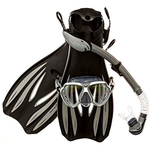 シュノーケリング マリンスポーツ Sea Scout Adult Snorkeling Set - Dry-top Snorkel/Fins / Mask (Gray, Large)シュノーケリング マリンスポーツ
