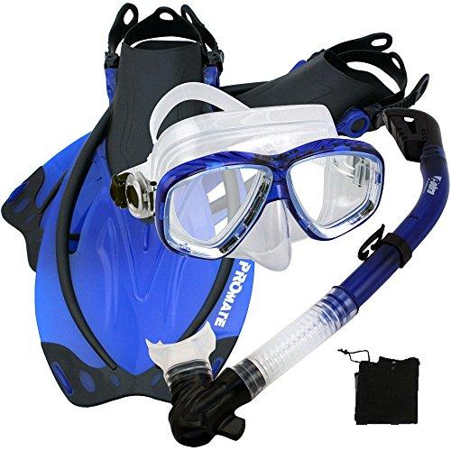 シュノーケリング マリンスポーツ Promate 275680 Snorkeling Scuba Dive Mask Fins Snorkel Set, Blue, SMシュノーケリング マリンスポーツ