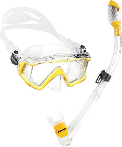 シュノーケリング マリンスポーツ LEPUSHPDJ6230 【送料無料】Cressi Panoramic Wide View Mask with Dry Snorkel Set, Clear Yellowシュノーケリング マリンスポーツ LEPUSHPDJ6230