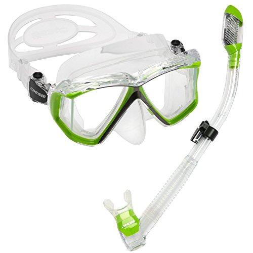 シュノーケリング マリンスポーツ LEPUSHPDJ6189 【送料無料】Cressi Panoramic Wide View 4 Panel Mask Dry Snorkel Set, Lime Green/Clear Siliconeシュノーケリング マリンスポーツ LEPUSHPDJ6189
