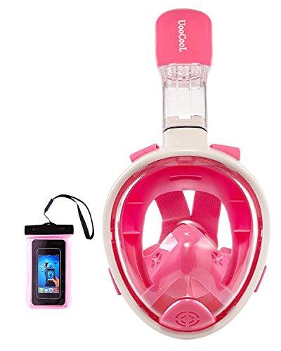シュノーケリング マリンスポーツ Upgraded Version 180° Full Face Snorkel Mask- Panoramic View Snorkeling Mask, Soft Adjustable Head Straps with Anti Fog and Anti Leak Design (Pink-Kid, XS- for 5-11 Years Kids)シュノーケリング マリンスポーツ
