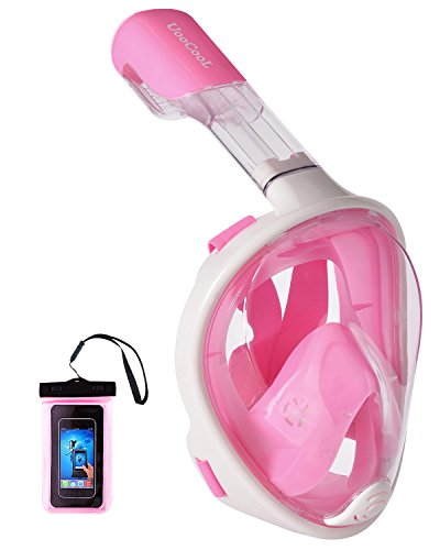 シュノーケリング マリンスポーツ Upgraded Version 180?? Full Face Snorkel Mask for Adults,Youth,Kids- Panoramic View Snorkeling Mask, Soft Adjustable Straps with Anti Fog and Anti Leak Design Snorkel Mask (Pink-White,シュノーケリング マリンスポーツ