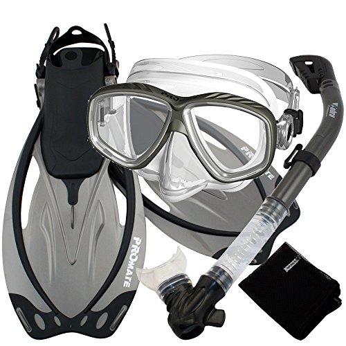 シュノーケリング マリンスポーツ SCS0011-Ti-SM Promate Snorkel Gear Combo Set with Fins, Titanium, Smallシュノーケリング マリンスポーツ SCS0011-Ti-SM