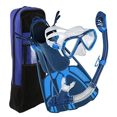 シュノーケリング マリンスポーツ 281061 U.S. Divers 281061 Regal Mask Tucson Snorkel Tulum Fins Set, Blue, Small/Mediumシュノーケリング マリンスポーツ 281061
