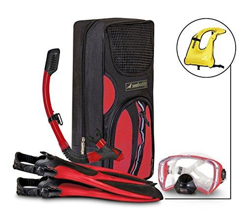 シュノーケリング マリンスポーツ 夏のアクティビティ特集 SealBuddy Fiji Panoramic Snorkel Set + Premium Travel Gear Bag ~ Vest Included (Red/Black, S/M Size 4 to 7.5)シュノーケリング マリンスポーツ 夏のアクティビティ特集