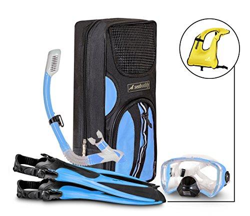 シュノーケリング マリンスポーツ 【送料無料】SealBuddy Fiji Panoramic Snorkel Set + Premium Travel Gear Bag ~ Vest Included (Aqua/Blue, S/M Size 4 to 7.5)シュノーケリング マリンスポーツ