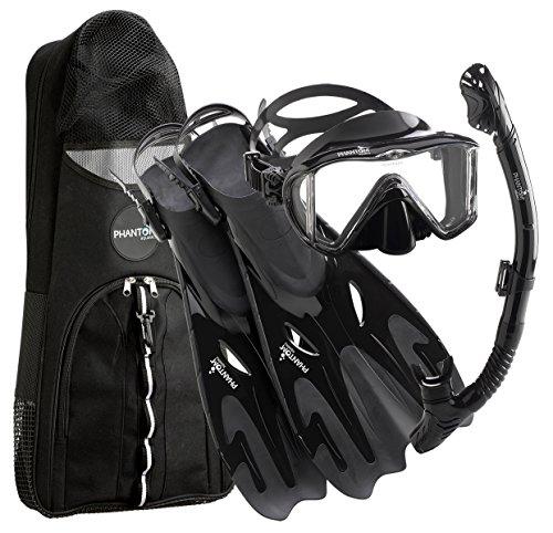 シュノーケリング マリンスポーツ 【送料無料】Phantom Aquatics Italian Collection Legendary Panoramic View Mask Fin Dry Snorkel Set with Deluxe Snorkeling Gear Bag… (All Black, S/M, 5-8)シュノーケリング マリンスポーツ