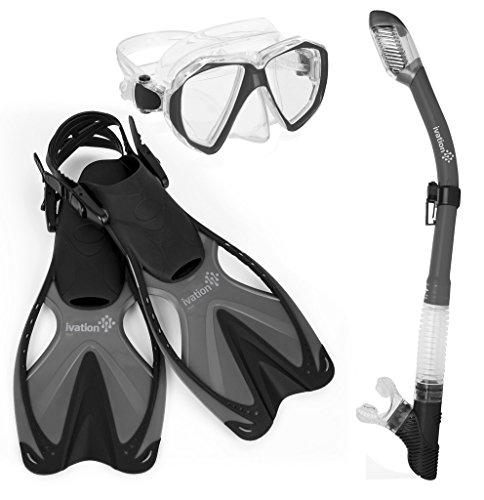 シュノーケリング マリンスポーツ Ivation Adult Diving Gear - Snorkel Mask & Fins Set, Double Lens Mask; Snorkel w/Dry Top & Adjustable Speed Finシュノーケリング マリンスポーツ