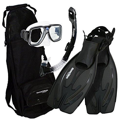 シュノーケリング マリンスポーツ DBG-AK-2504-BK Deep Blue Gear - Adult Diving Snorkel Set (Explorer) with Maui Mask/Ultra Dry 2 Snorkel/Adjustable Medium-Large Fins/Backpackシュノーケリング マリンスポーツ DBG-AK-2504-BK