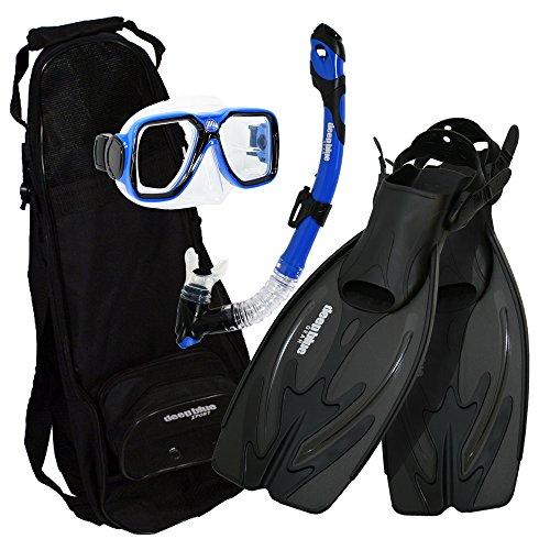 シュノーケリング マリンスポーツ DBG-AK-2505-BU Deep Blue Gear - Adult Diving Snorkel Set (Explorer) with Maui Mask/Ultra Dry 2 Snorkel/Adjustable Large-XL Fins/Backpackシュノーケリング マリンスポーツ DBG-AK-2505-BU