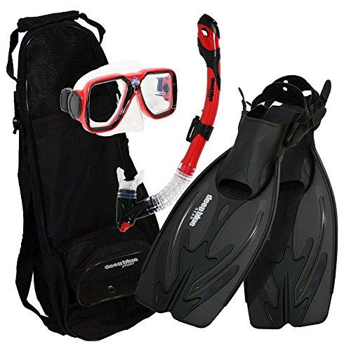 シュノーケリング マリンスポーツ DBG-AK-2505-RD Deep Blue Gear - Adult Diving Snorkel Set (Explorer) with Maui Mask/Ultra Dry 2 Snorkel/Adjustable Large-XL Fins/Backpackシュノーケリング マリンスポーツ DBG-AK-2505-RD