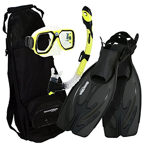 シュノーケリング マリンスポーツ DBG-AK-2504-YL Deep Blue Gear - Adult Diving Snorkel Set (Explorer) with Maui Mask/Ultra Dry 2 Snorkel/Adjustable Medium-Large Fins/Backpackシュノーケリング マリンスポーツ DBG-AK-2504-YL
