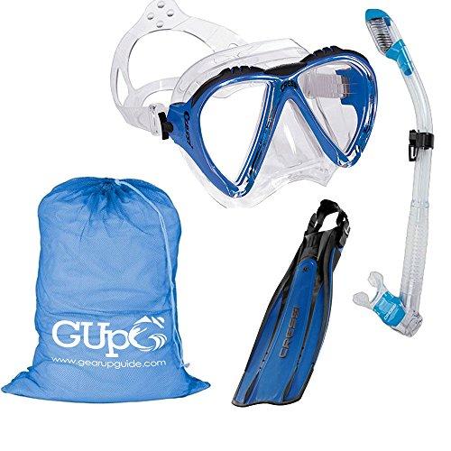 シュノーケリング マリンスポーツ Cressi Lince Mask, Supernova Dry Snorkel, Pro Light Fins Snorkel Set w/GupG Mesh Travel Bag XS/S Blueシュノーケリング マリンスポーツ