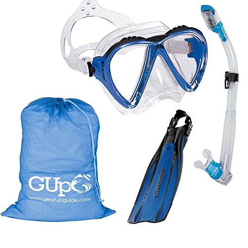 シュノーケリング マリンスポーツ Cressi Lince Mask, Supernova Dry Snorkel, Pro Light Fins Snorkel Set w/GupG Mesh Travel Bag M/L Blueシュノーケリング マリンスポーツ