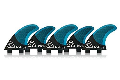 サーフィン フィン マリンスポーツ Naked Viking Surf Medium JL Tri-Quad Surfboard Fins (Set of 5 Fins) Blue Carbon, FCSサーフィン フィン マリンスポーツ