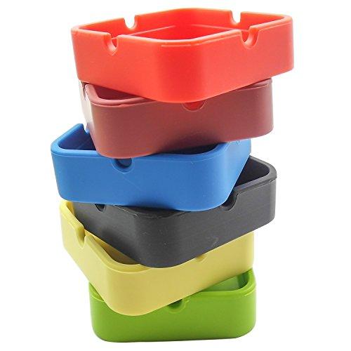 灰皿 海外モデル アメリカ 輸入物 6108133 INNOLIFE - Eco-Friendly Colorfull Premium Silicone Rubber High Temperature Heat Resistant Round Design Ashtray (Square 6 Mixed Colors)灰皿 海外モデル アメリカ 輸入物 6108133