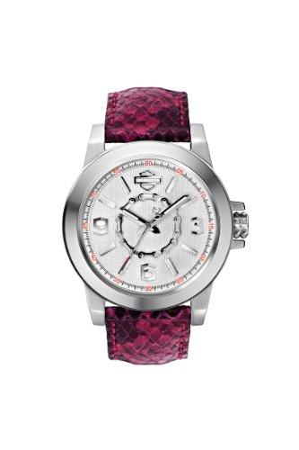 ブローバ 腕時計 レディース 76L172 Harley-Davidson Women's Bulova Fuchsia Textured Leather Strap Wrist Watch 76L172ブローバ 腕時計 レディース 76L172