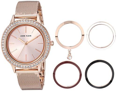 アンクライン 腕時計 レディース AK/3166INST Anne Klein Women's Rose Gold-Tone Mesh Bracelet Watch and Interchangeable Bezel Setアンクライン 腕時計 レディース AK/3166INST
