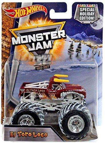 ホットウィール マテル ミニカー ホットウイール 【送料無料】Monster Jam Hot Wheels Snow Tires 1:64 2017 Special Holiday Edition 25th Anniversary (El Toro Loco)ホットウィール マテル ミニカー ホットウイール