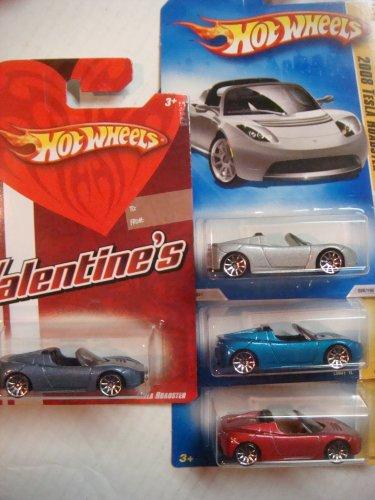 ホットウィール マテル ミニカー ホットウイール 【送料無料】Hot Wheels Tesla Roadster Set: Metallic Blue Valentine Gift Card Issue, Silver, Blue & Red - 10 Spoke #26 {4 Pieces} Scale 1/64 Collectorホットウィール マテル ミニカー ホットウイール