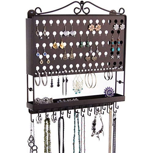 アクセサリスタンド ジュエリー MPEA-RB Angelynn's Jewelry Organizer Hanging Earring Holder Wall Mount Closet Necklace Storage Bracelet Rack, Rubbed Bronzeアクセサリスタンド ジュエリー MPEA-RB