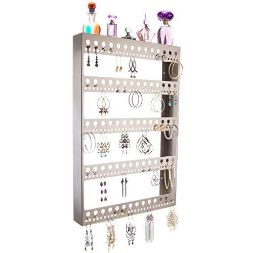 アクセサリスタンド ジュエリー NICHOLE-SN Angelynn's Large Earring Holder Organizer for Hoops, Wall Hanging Closet Jewelry Storage with Shelf, Nichole Satin Nickel Silverアクセサリスタンド ジュエリー NICHOLE-SN