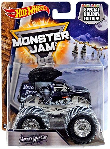 ホットウィール マテル ミニカー ホットウイール 【送料無料】Monster Jam Hot Wheels Snow Tires 1:64 2017 Special Holiday Edition 25th Anniversary (Mohawk Warrior)ホットウィール マテル ミニカー ホットウイール