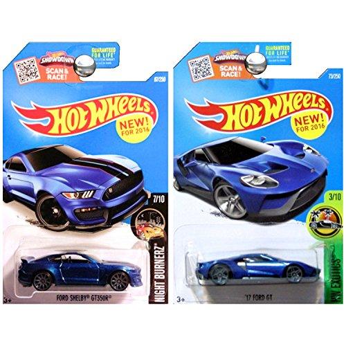 ホットウィール マテル ミニカー ホットウイール 【送料無料】Hot Wheels '17 Ford GT and Ford Mustang Shelby GT350 GT350R in Blue SET OF 2ホットウィール マテル ミニカー ホットウイール