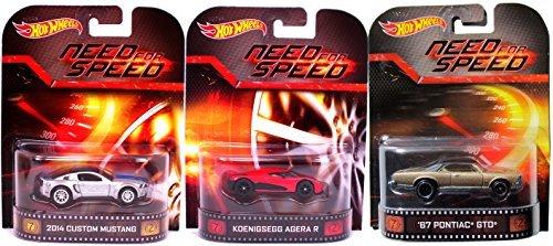 ホットウィール マテル ミニカー ホットウイール 【送料無料】Need for Speed Hot Wheels 3 Car Set -Pontiac GTO, Mustang & Koenigsegg Agera Retro Entertainment Die Cast 1:64 three pack 2014ホットウィール マテル ミニカー ホットウイール