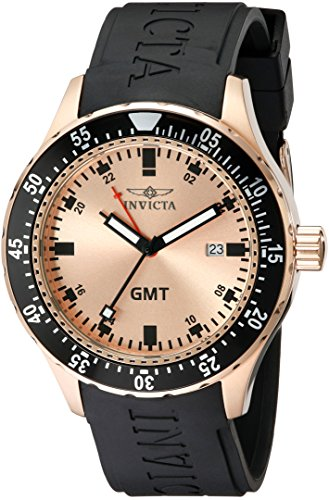 インヴィクタ インビクタ 腕時計 メンズ 11257 【送料無料】Invicta Men's 11257 Specialty GMT Rose Gold Dial Black Polyurethane Watchインヴィクタ インビクタ 腕時計 メンズ 11257