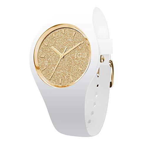 アイスウォッチ 腕時計 レディース かわいい Ice Glitter Ice-Watch - ICE Glitter White Gold - Women's Wristwatch with Silicon Strap - 001345 (Small)アイスウォッチ 腕時計 レディース かわいい Ice Glitter