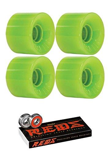 ウィール タイヤ スケボー スケートボード 海外モデル OJ Wheels 55mm Mini Hot Juice Solid Green Skateboard Wheels with Bones Bearings - 8mm Bones Reds Precision Skateboard Bearings - Bundle of 2 Itemsウィール タイヤ スケボー スケートボード 海外モデル