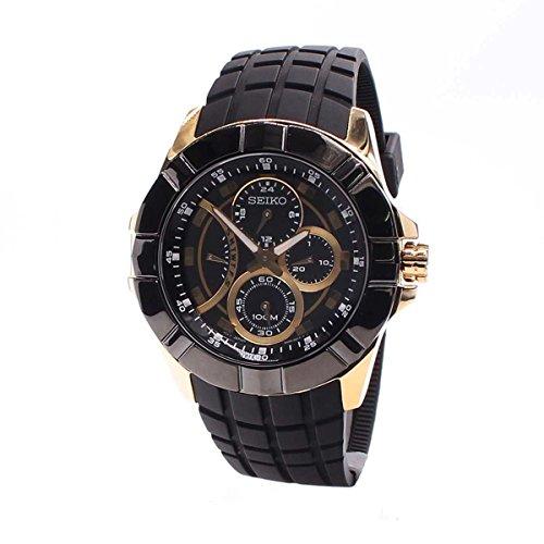 セイコー 腕時計 メンズ Seiko SRL070 Mens Stainless Steel Case Black Dial Rubber Strap Watchセイコー 腕時計 メンズ
