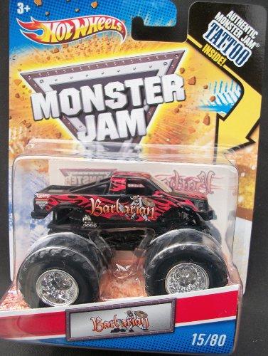 ホットウィール マテル ミニカー ホットウイール 【送料無料】2011 Hot Wheels Monster Jam 1st Edition #15/80 BARBARIAN 1:64 Scale Collectible Truck with Monster Jam TATTOOホットウィール マテル ミニカー ホットウイール