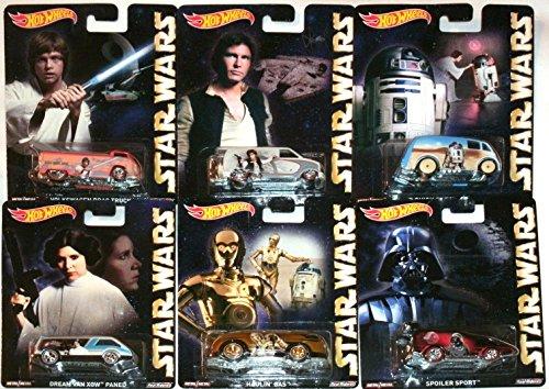 ホットウィール マテル ミニカー ホットウイール CFP34 Star Wars Pop Culture Hot Wheels Car Set, 2015 Luke Skywalker, Han Solo, Princess Leia, R2D2 & C3PO Droids, Darth Vaderホットウィール マテル ミニカー ホットウイール CFP34