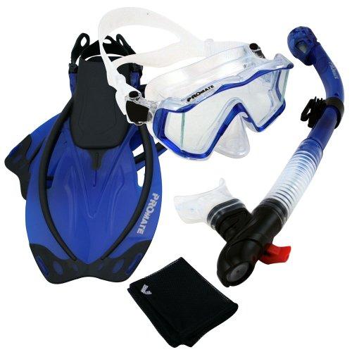シュノーケリング マリンスポーツ Promate 9990, Trans. Blue, ML/XL, Snorkeling Scuba Dive Panoramic PURGE Mask Dry Snorkel Fins Gear Setシュノーケリング マリンスポーツ