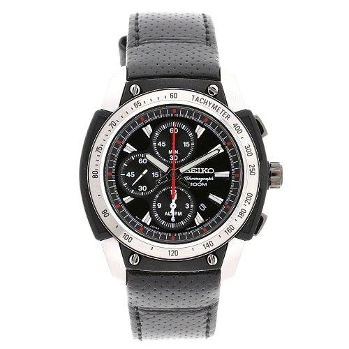 セイコー 腕時計 メンズ SNAD47P2 【送料無料】Seiko Men's SNAD47P2 Stainless Steel Case Black Leather Strap Alarm Chronograph Watchセイコー 腕時計 メンズ SNAD47P2