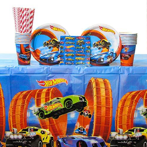 ホットウィール マテル ミニカー ホットウイール 【送料無料】Hot Wheels Wild Racer Party Supplies Pack for 16 Guests - Straws, Dessert Plates, Beverage Napkins, Cups, and Table Coverホットウィール マテル ミニカー ホットウイール
