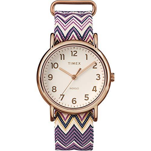タイメックス 腕時計 レディース TW2R59000 【送料無料】Timex Women's TW2R59000 Weekender 38mm Purple Chevron Fabric Slip-Thru Strap Watchタイメックス 腕時計 レディース TW2R59000