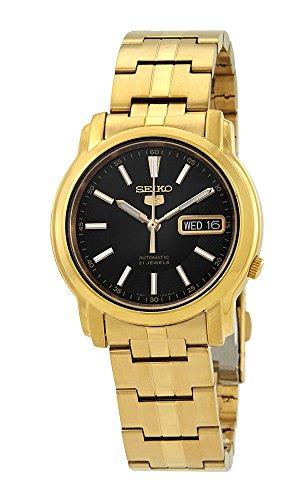 セイコー 腕時計 メンズ 【送料無料】Seiko #SNKL88 Men's Gold Tone Stainless Steel Black Dial Automatic Watchセイコー 腕時計 メンズ