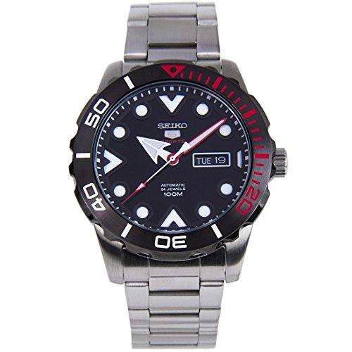 セイコー 腕時計 メンズ 【送料無料】Seiko 5 Sports SRPA07 J1 Black Face Stainless Steel Automatic Men's Analog Watchセイコー 腕時計 メンズ