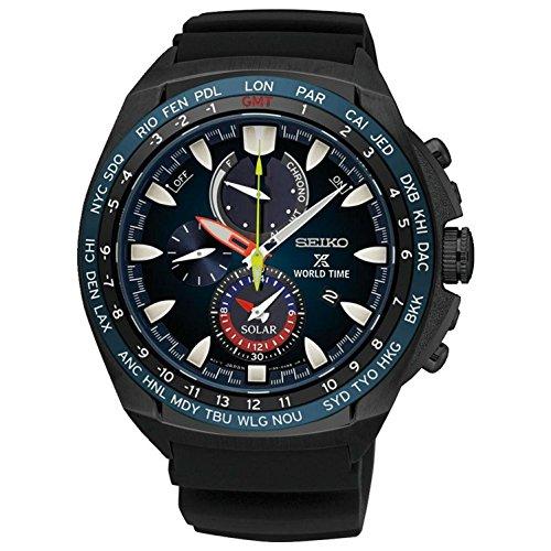 セイコー 腕時計 メンズ Seiko Solar Wolrd Time Chronograph SSC551P1 Mens Wristwatch With Alarmセイコー 腕時計 メンズ