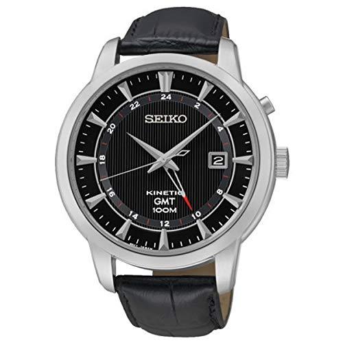 セイコー 腕時計 メンズ 【送料無料】Seiko Kinetic GMT Black Dial Leather Strap Men's Analog Dress Watch SUN033P2セイコー 腕時計 メンズ