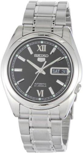 腕時計 セイコー メンズ 【送料無料】Seiko SNKL55 Mens Stainless Steel Case and Bracelet Automatic Black Tone Dial Watch腕時計 セイコー メンズ