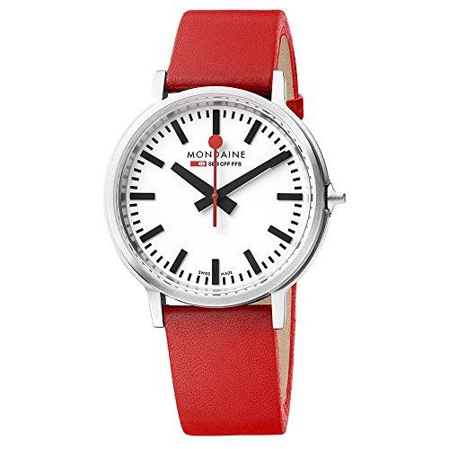 モンディーン 北欧 スイス 腕時計 メンズ 【送料無料】Mondaine Men's SBB Stainless Steel Swiss-Quartz Watch with Leather Strap, red (Model: MST.4101B.LC)モンディーン 北欧 スイス 腕時計 メンズ