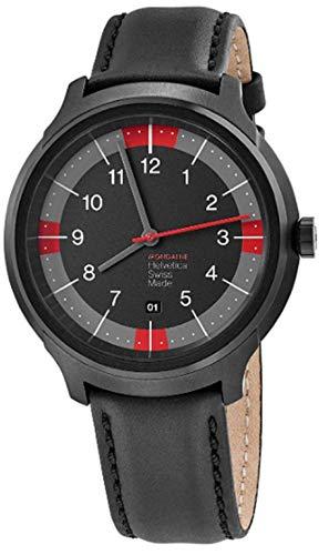 モンディーン 北欧 スイス 腕時計 メンズ Mondaine Helvetica Watch for Men Bold Spiekermann Edition (MH1.B1222.LB) Swiss Made, Black Leather Strap, Black Stainless Steel Caseモンディーン 北欧 スイス 腕時計 メンズ