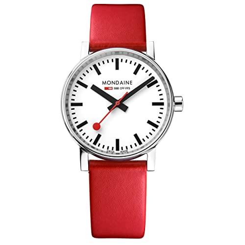 モンディーン 北欧 スイス 腕時計 レディース 【送料無料】Mondaine SBB Stainless Steel Swiss-Quartz Watch with Leather Strap, red (Model: MSE.35110.LC)モンディーン 北欧 スイス 腕時計 レディース
