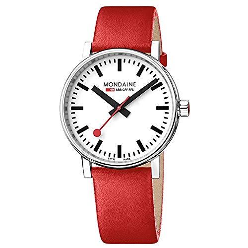 モンディーン 北欧 スイス 腕時計 メンズ Mondaine Men's SBB Stainless Steel Swiss-Quartz Watch with Leather Strap, red, 21 (Model: MSE.40110.LCモンディーン 北欧 スイス 腕時計 メンズ